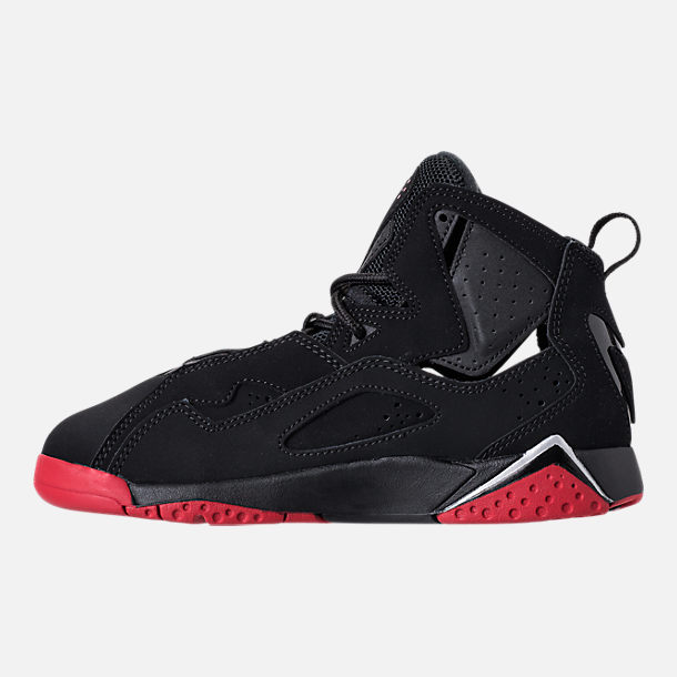 Left view of Boys' Preschool Jordan True Flight Basketball Shoes in Black/Gym Red/Metallic Silver