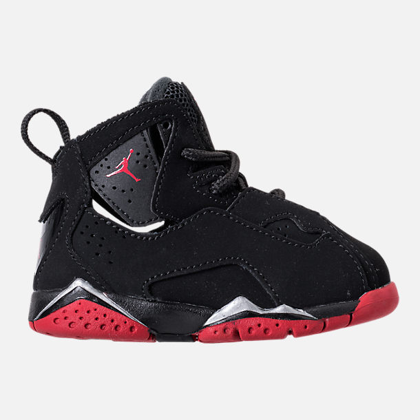 Right view of Boys' Toddler Jordan True Flight Basketball Shoes in Black/Gym Red/Metallic Silver