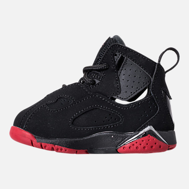 Left view of Boys' Toddler Jordan True Flight Basketball Shoes in Black/Gym Red/Metallic Silver