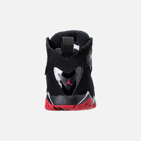 Back view of Boys' Toddler Jordan True Flight Basketball Shoes in Black/Gym Red/Metallic Silver