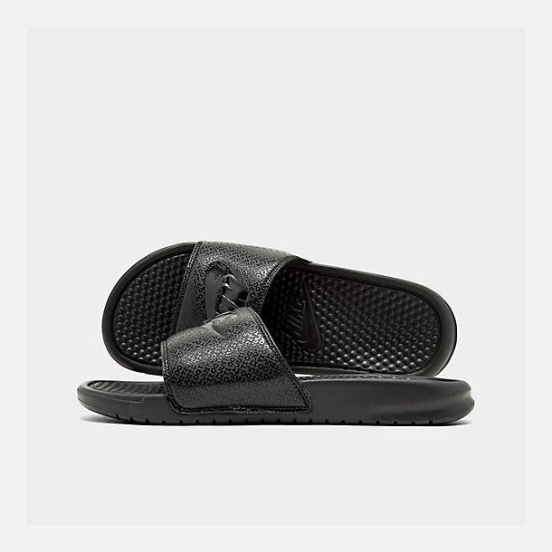 Nike BENASSI JDI SLIDE Mens Black White 090 Slip On Slide Sandals Shoes
