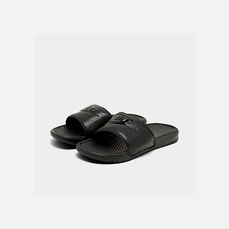 Three Quarter view of Men's Nike Benassi JDI Slide Sandals in Black