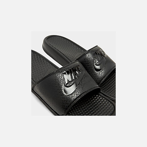 Front view of Men's Nike Benassi JDI Slide Sandals in Black