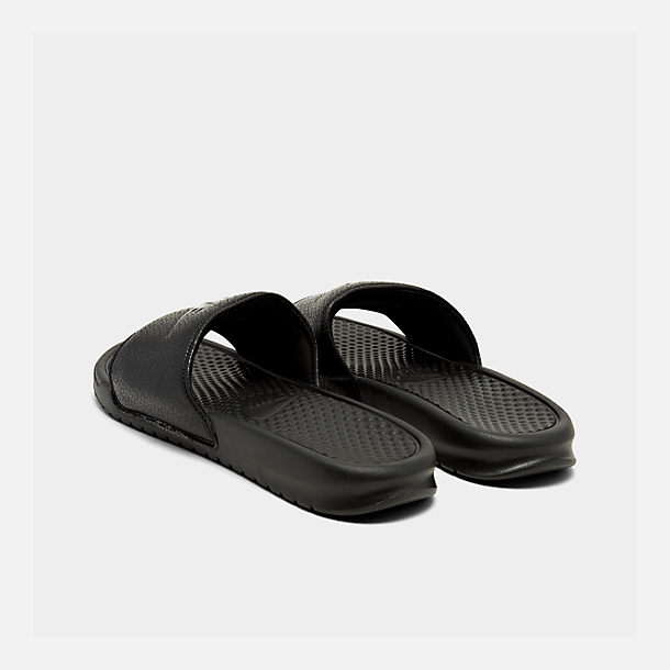 Left view of Men's Nike Benassi JDI Slide Sandals in Black