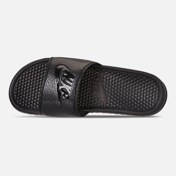 Top view of Men's Nike Benassi JDI Slide Sandals in Black