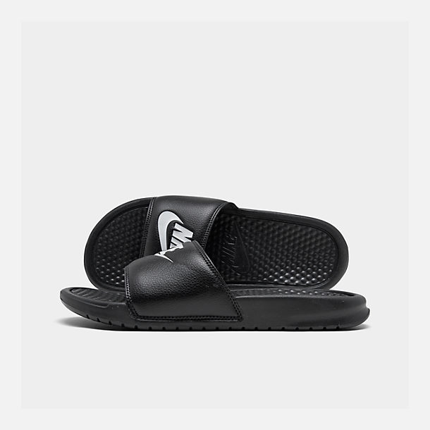 huge discount 2102d 51310 Right view of Men s Nike Benassi JDI Slide Sandals in Black White