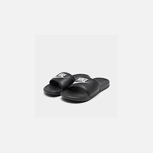 wholesale dealer e9cd0 8cf7e Three Quarter view of Men s Nike Benassi JDI Slide Sandals in Black White