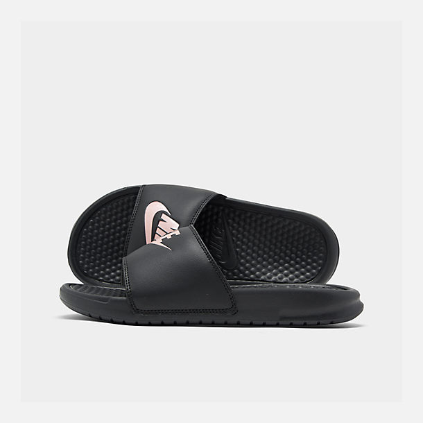 5c9576b6004f Right view of Women s Nike Benassi JDI Swoosh Slide Sandals in Black Rose  Gold