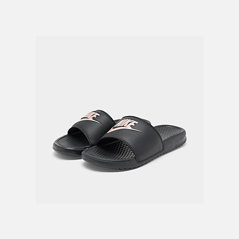 Three Quarter view of Women s Nike Benassi JDI Swoosh Slide Sandals in  Black Rose Gold 289bf04845