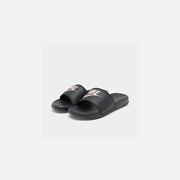539946109 Three Quarter view of Women s Nike Benassi JDI Swoosh Slide Sandals in Black Rose  Gold