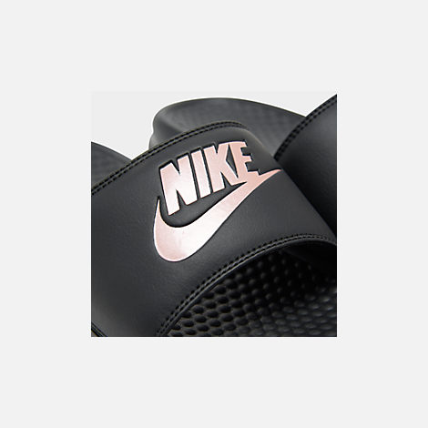Front view of Women's Nike Benassi JDI Swoosh Slide Sandals in Black/Rose Gold