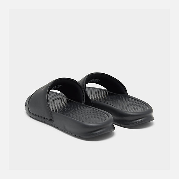 1255a16021cab Left view of Women s Nike Benassi JDI Swoosh Slide Sandals in Black Rose  Gold