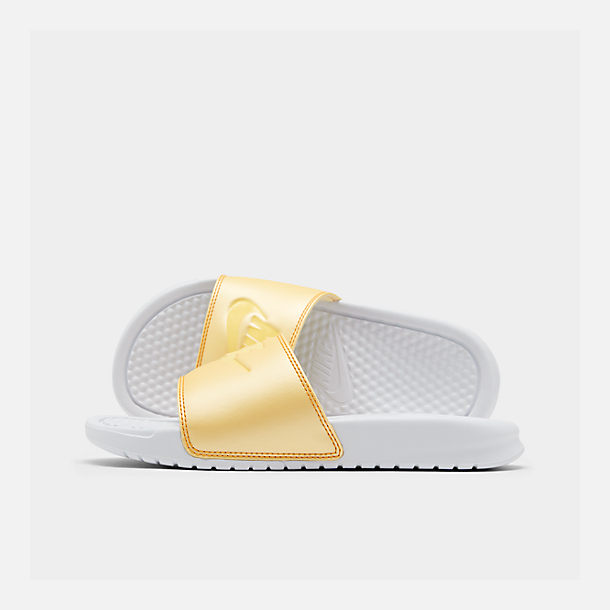Right view of Women's Nike Benassi JDI Swoosh Slide Sandals in White/Bicycle Yellow/Bicycle Yellow