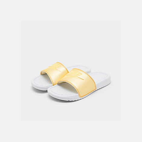 Three Quarter view of Women's Nike Benassi JDI Swoosh Slide Sandals in White/Bicycle Yellow/Bicycle Yellow
