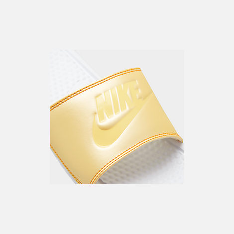 Front view of Women's Nike Benassi JDI Swoosh Slide Sandals in White/Bicycle Yellow/Bicycle Yellow
