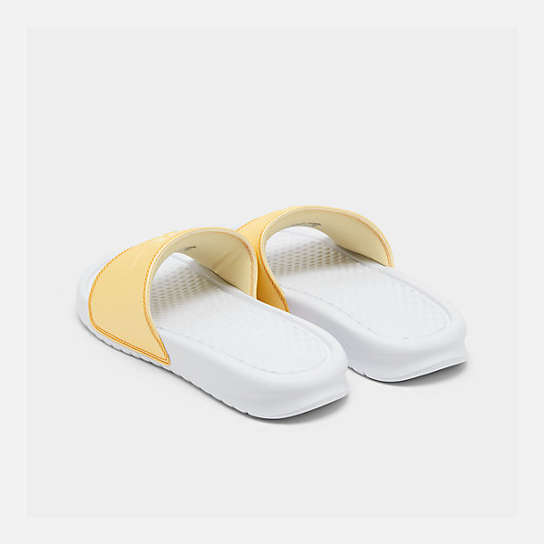 Left view of Women's Nike Benassi JDI Swoosh Slide Sandals in White/Bicycle Yellow/Bicycle Yellow