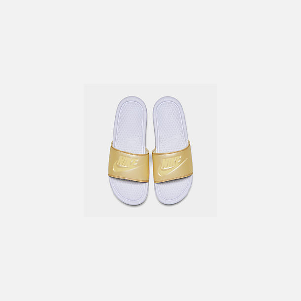 Back view of Women's Nike Benassi JDI Swoosh Slide Sandals in White/Bicycle Yellow/Bicycle Yellow