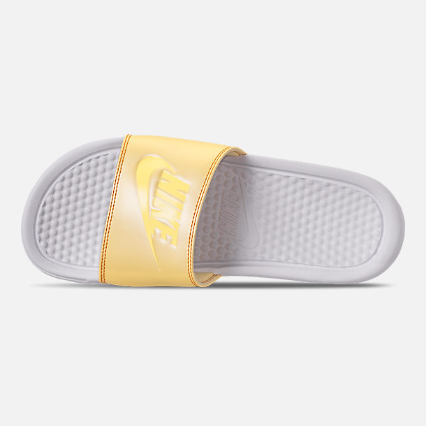 Top view of Women's Nike Benassi JDI Swoosh Slide Sandals in White/Bicycle Yellow/Bicycle Yellow