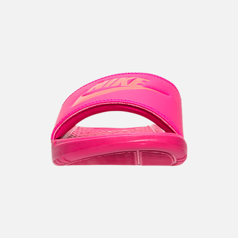 Front view of Women's Nike Benassi JDI Swoosh Slide Sandals in Deadly Pink/Solar Red