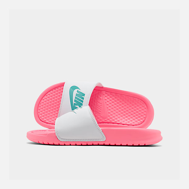 Right view of Women's Nike Benassi JDI Swoosh Slide Sandals in Sunset Pulse/Teal Nebula/White