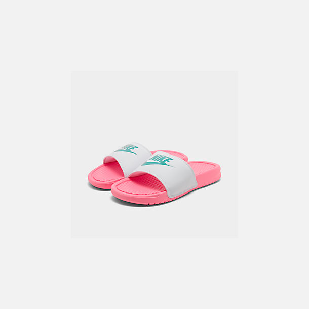 Three Quarter view of Women's Nike Benassi JDI Swoosh Slide Sandals in Sunset Pulse/Teal Nebula/White