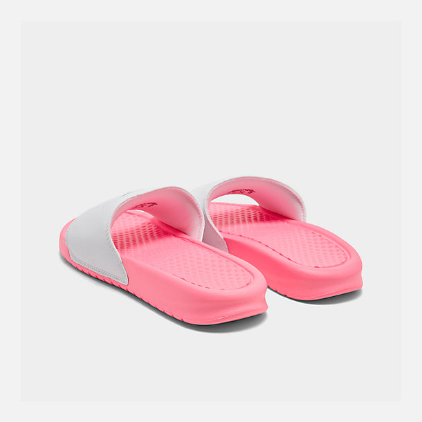 Left view of Women's Nike Benassi JDI Swoosh Slide Sandals in Sunset Pulse/Teal Nebula/White