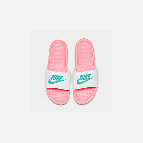 Back view of Women's Nike Benassi JDI Swoosh Slide Sandals in Sunset Pulse/Teal Nebula/White