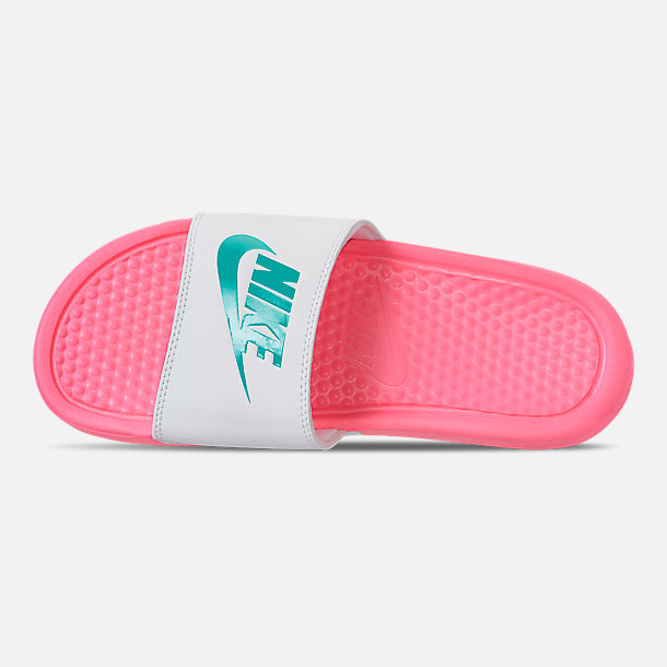 Top view of Women's Nike Benassi JDI Swoosh Slide Sandals in Sunset Pulse/Teal Nebula/White