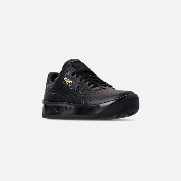 Three Quarter view of Boys' Big Kids' Puma The GV Special Casual Shoes in Black/Black/Metallic Gold