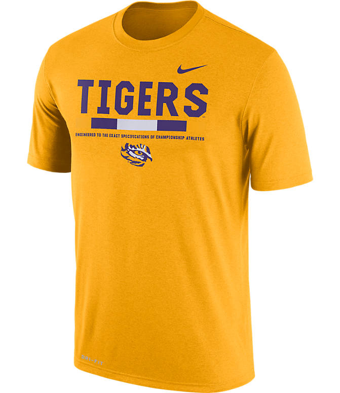 Front view of Men's Nike LSU Tigers College Legend Staff T-Shirt in Gold