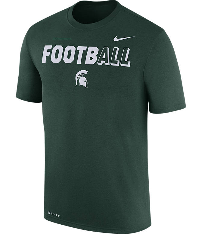 Front view of Men's Nike Michigan State Spartans College All Sideline T-Shirt in Green