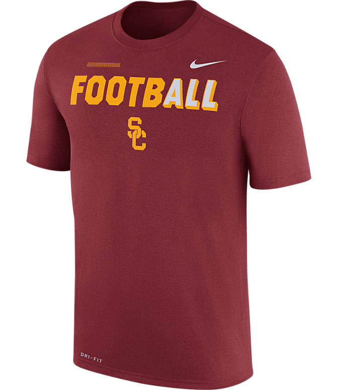 Front view of Men's Nike USC Trojans College All Sideline T-Shirt in Crimson