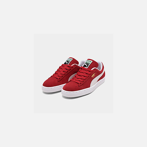 Three Quarter view of Men's Puma Suede Classic Casual Shoes in Red/White