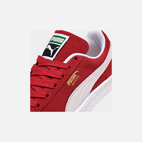 Front view of Men's Puma Suede Classic Casual Shoes in Red/White