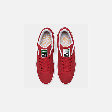 Back view of Men's Puma Suede Classic Casual Shoes in Red/White