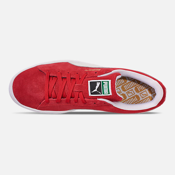 Top view of Men's Puma Suede Classic Casual Shoes in Red/White