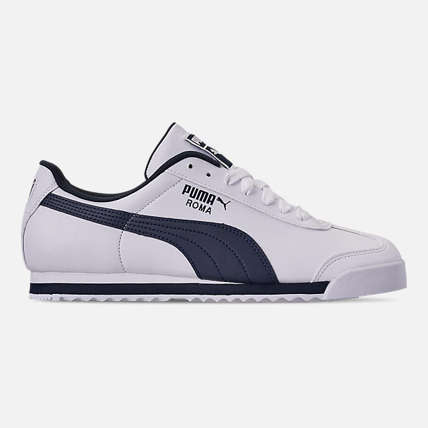 Right view of Men's Puma Roma Basic Casual Shoes in White/New Navy