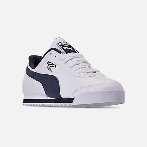 Three Quarter view of Men's Puma Roma Basic Casual Shoes in White/New Navy