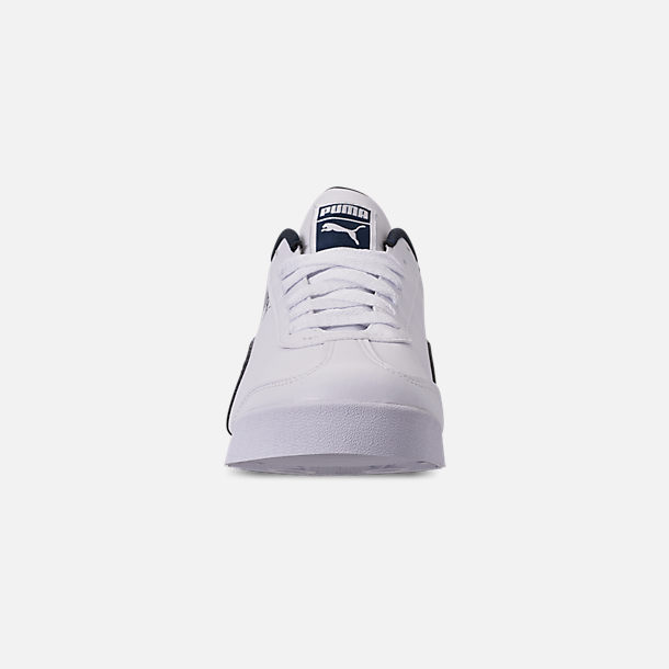 Front view of Men's Puma Roma Basic Casual Shoes in White/New Navy