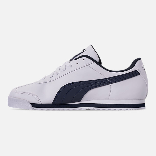 Left view of Men's Puma Roma Basic Casual Shoes in White/New Navy