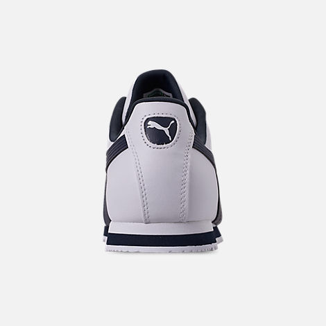 Back view of Men's Puma Roma Basic Casual Shoes in White/New Navy