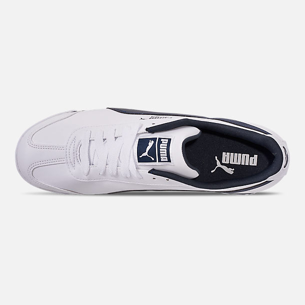 Top view of Men's Puma Roma Basic Casual Shoes in White/New Navy
