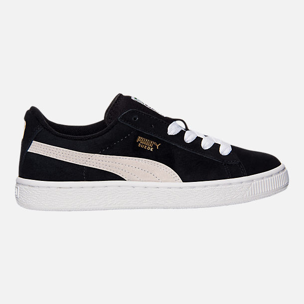 Right view of Boys' Big Kids' Puma Suede Jr. Casual Shoes in Black/White