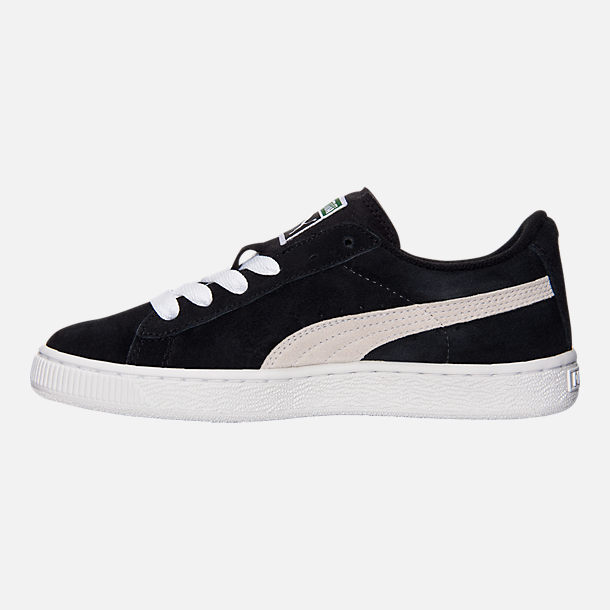 Left view of Boys' Big Kids' Puma Suede Jr. Casual Shoes in Black/White