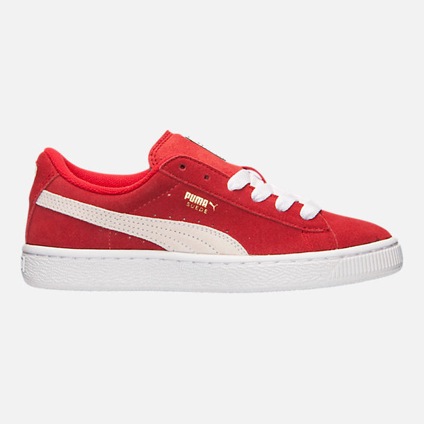 Right view of Boys' Big Kids' Puma Suede Jr. Casual Shoes in Red/White