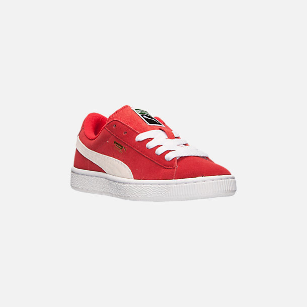Three Quarter view of Boys' Big Kids' Puma Suede Jr. Casual Shoes in Red/White