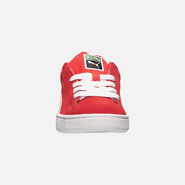 Front view of Boys' Big Kids' Puma Suede Jr. Casual Shoes in Red/White