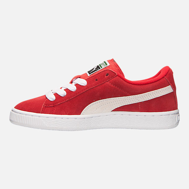 Left view of Boys' Big Kids' Puma Suede Jr. Casual Shoes in Red/White