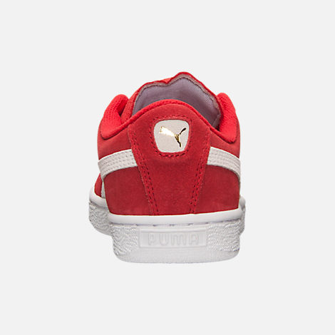 Back view of Boys' Big Kids' Puma Suede Jr. Casual Shoes in Red/White