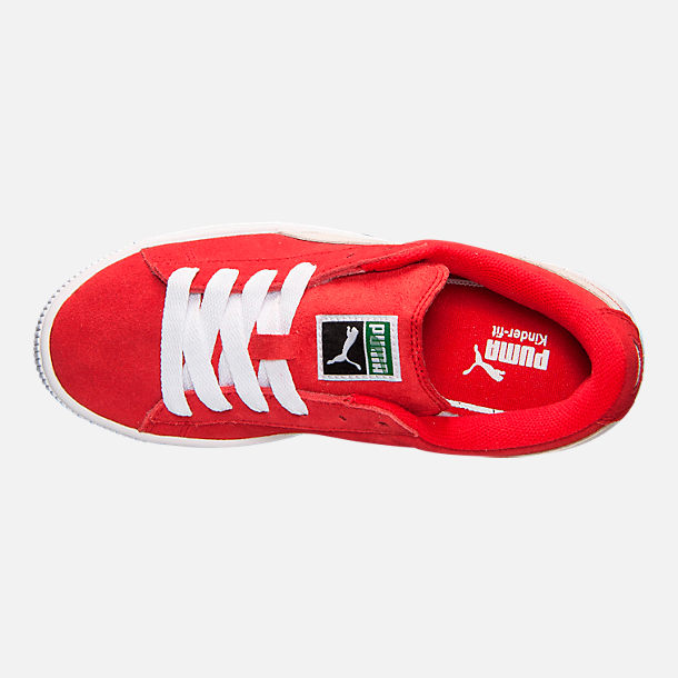 Top view of Boys' Big Kids' Puma Suede Jr. Casual Shoes in Red/White